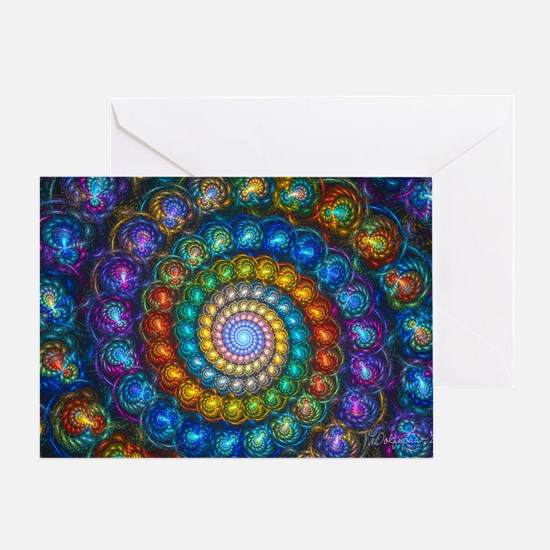 Textured Fractal Spiral Shell Beads Greeting Card