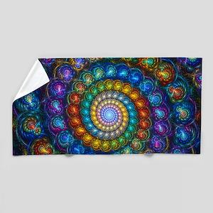 Textured Fractal Spiral Shell Beads Beach Towel
