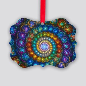 Textured Fractal Spiral Shell Bea Picture Ornament