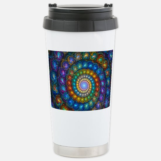 Textured Fractal Spiral Stainless Steel Travel Mug