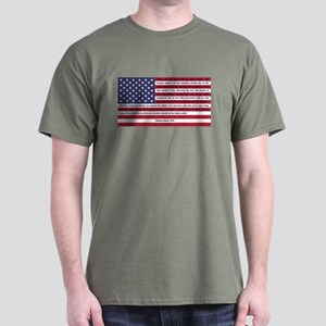 USA Flag with Thomas Paine Text Dark T-Shirt