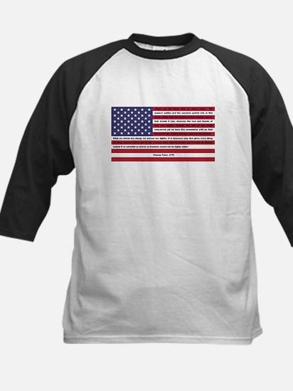 USA Flag with Thomas Paine Text Kids Baseball Jers