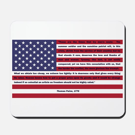 USA Flag with Thomas Paine Text Mousepad