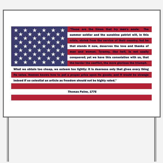 USA Flag with Thomas Paine Text Yard Sign