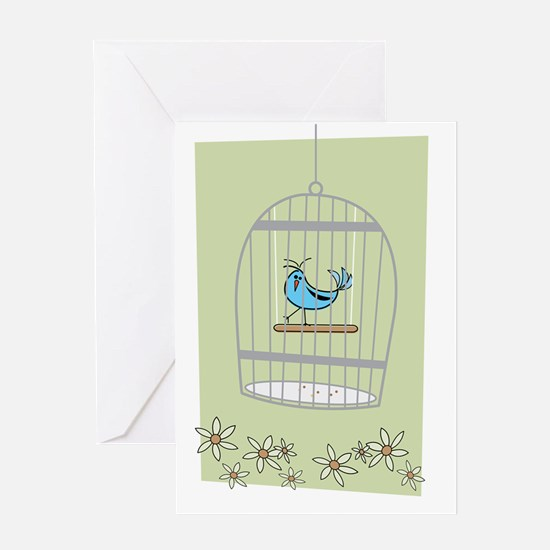 Bluebird in Cage Greeting Card