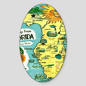 Vintage Florida Sun Map Sticker (Oval)