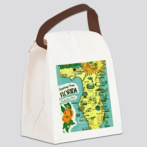 Vintage Florida Sun Map Canvas Lunch Bag
