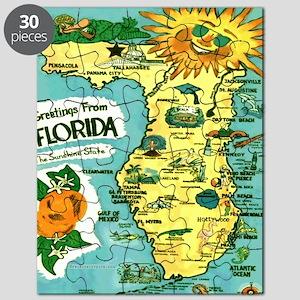 Vintage Florida Sun Map Puzzle