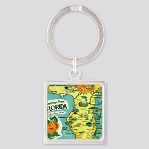 Vintage Florida Sun Map Square Keychain