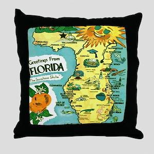 Vintage Florida Sun Map Throw Pillow