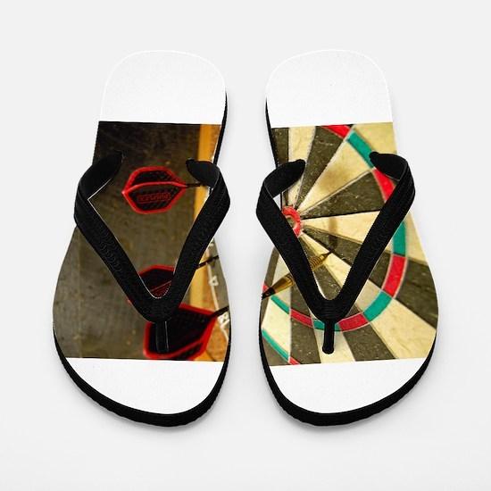 Darts in a Dartboard Flip Flops