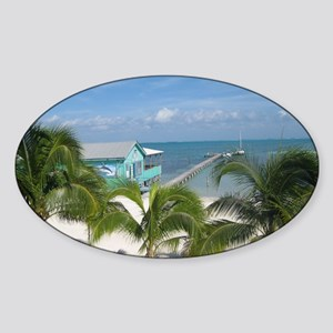 Beautiful Belize beach Sticker (Oval)