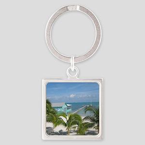 Beautiful Belize beach Square Keychain