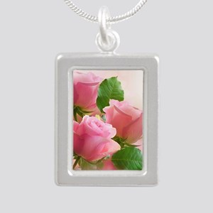 Pink Roses Silver Portrait Necklace