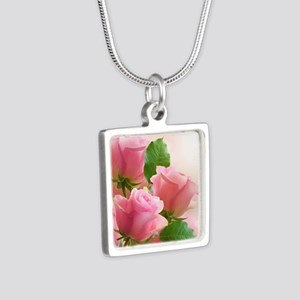 Pink Roses Silver Square Necklace