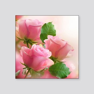 "Pink Roses Square Sticker 3"" x 3"""