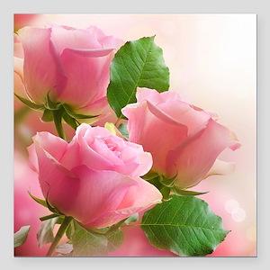 "Pink Roses Square Car Magnet 3"" x 3"""