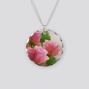 Pink Roses Necklace Circle Charm