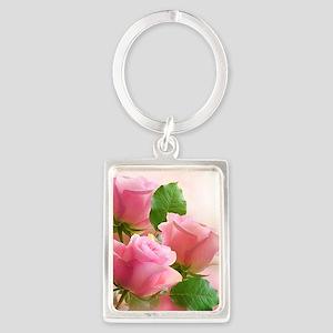 Pink Roses Portrait Keychain