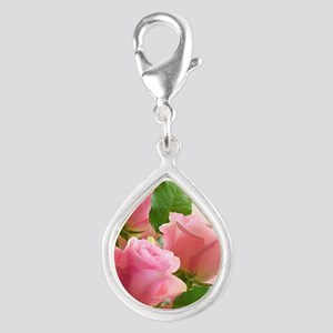 Pink Roses Silver Teardrop Charm