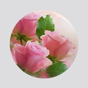 Pink Roses Round Ornament