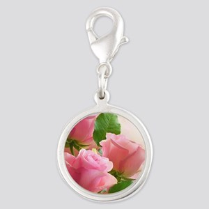 Pink Roses Silver Round Charm