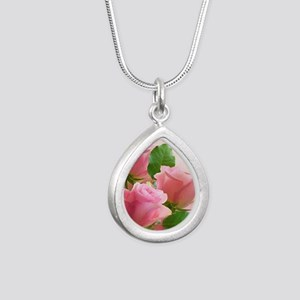 Pink Roses Silver Teardrop Necklace