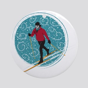 Nordic Ski Girl Round Ornament