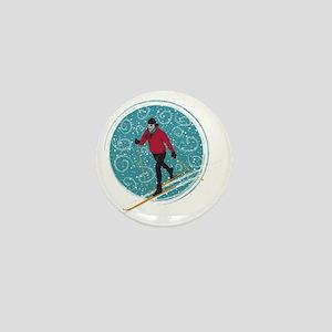 Nordic Ski Girl Mini Button