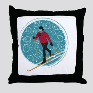 Nordic Ski Girl Throw Pillow