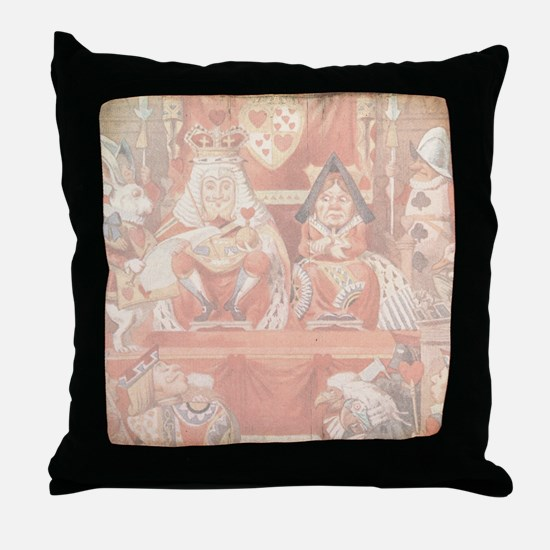 Vintage Alice in Wonderland King and  Throw Pillow