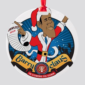 Barry Claus Is Coming To Town Round Ornament