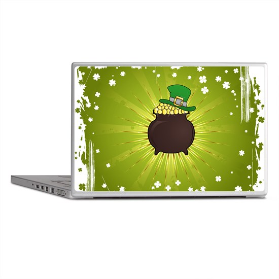 Grunge St. Patrick's Day Background Laptop Skins