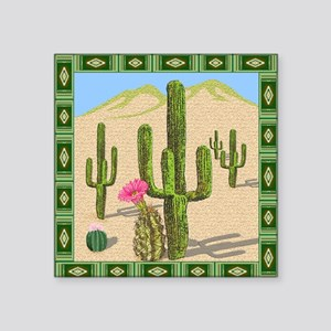 "desert cactus shower curtai Square Sticker 3"" x 3"""