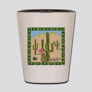 desert cactus shower curtain Shot Glass