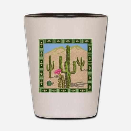 desert cactus shower curtain Shot Glass