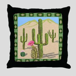 desert cactus shower curtain Throw Pillow
