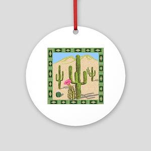 desert cactus shower curtain Round Ornament