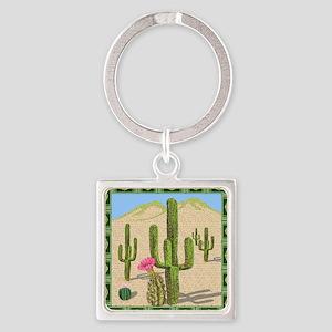 desert cactus shower curtain Square Keychain