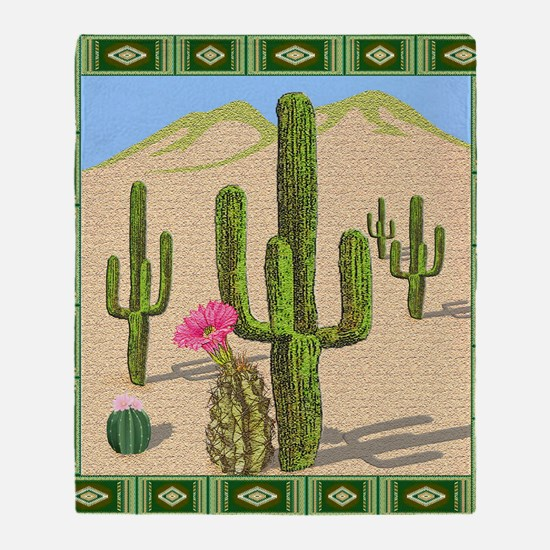 desert cactus shower curtain Throw Blanket