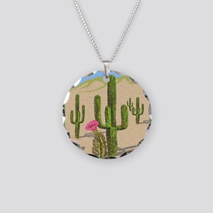 desert cactus shower curtain Necklace Circle Charm