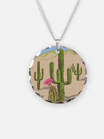 desert cactus shower curtain Necklace Circle Charm