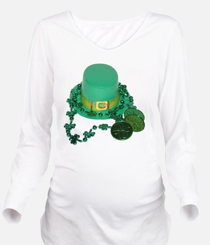 Green Hat And Coins Long Sleeve Maternity T-Shirt