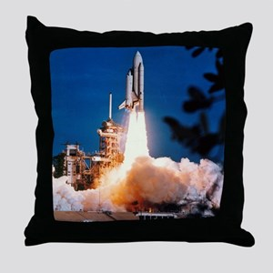 Launch of Columbia, the first space s Throw Pillow