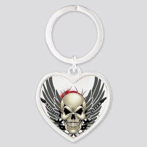 Skull, guitars, and wings Heart Keychain