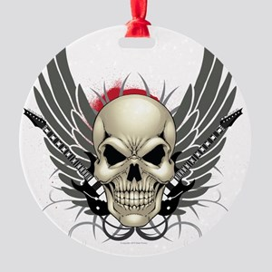 Skull, guitars, and wings Round Ornament