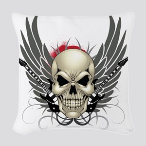Skull, guitars, and wings Woven Throw Pillow
