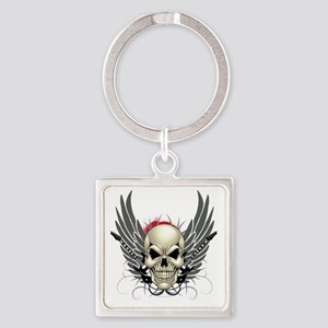 Skull, guitars, and wings Square Keychain