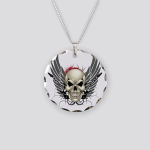 Skull, guitars, and wings Necklace Circle Charm