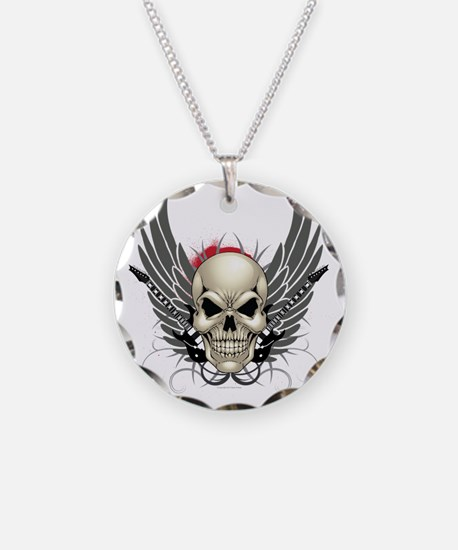 Skull, guitars, and wings Necklace